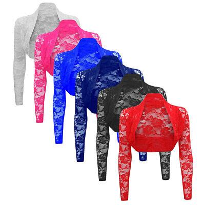 Womens Sheer Lace Bolero Long Sleeve Bolero Shrug Cropped Top Cardigans Sweater