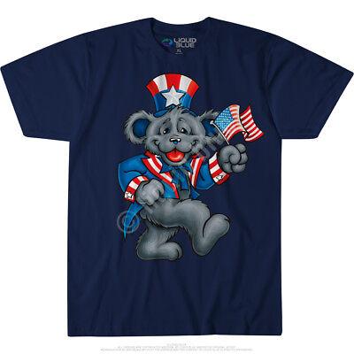 GRATEFUL DEAD-BEAR-WAVE THE FLAG-USA-BLUE TSHIRT L, 2X-3X-6X Bears, Garcia - The Grateful Dead Bears