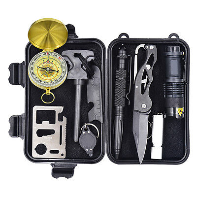 10 in 1 Professional Survival Tool Kit Travel Hiking Camp Emergency Outdoor Gear
