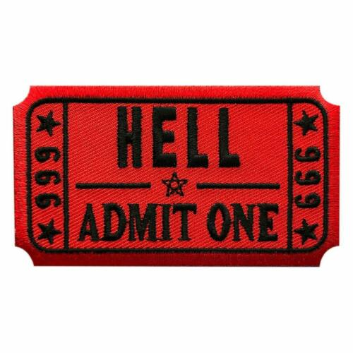 """Hell Admit one Embroidered Patch (3.5 inch""""Velcro Brand"""" Fastener -HA6)"""