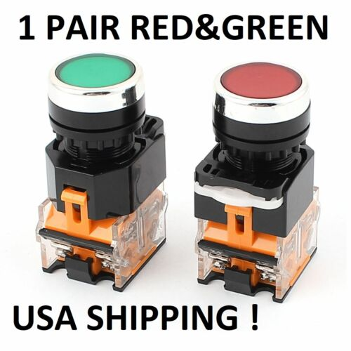 2 PCS 22MM RED/GREEN  START/STOP  1 RED SWITCH & 1 GREEN SWITCH , NON-LATCHING