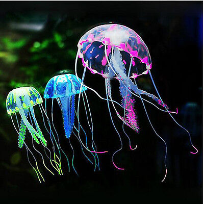 Glowing Vivid Jellyfish Silicone Fish Tank Decor Aquarium Ornament