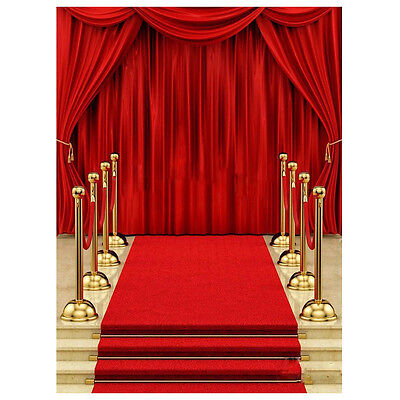 5x7ft Vinyl Red Carpet Curtain Backdrop Studio Photography Photo Background ED