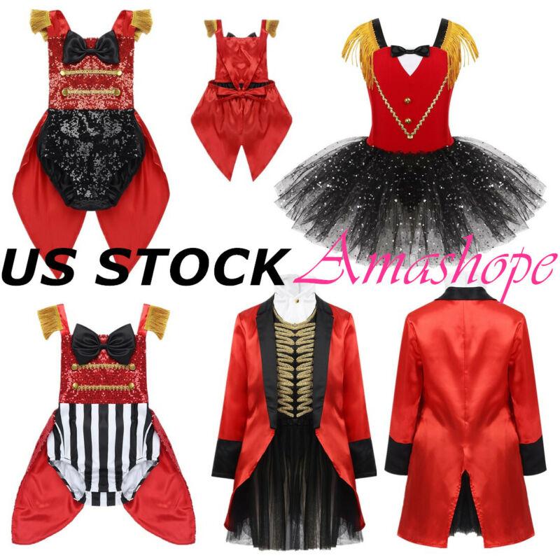 Kids Girls Ringmaster Circus Costume Halloween Cosplay Rompe