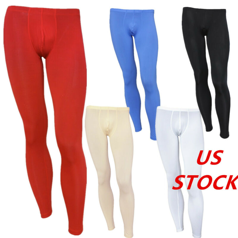 US Mens See-through Tight Leggings Low Rise Bulge Pouch Long