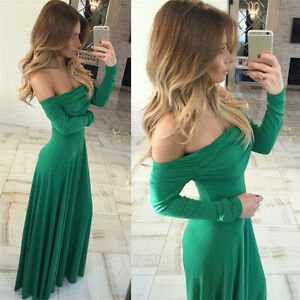 Women-039-s-Elegant-Off-Shoulder-Long-Dress-Sleeve-Party-Cocktail-Maxi-Evening-Dress