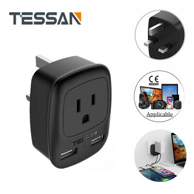 TESSAN USA to UK Ireland Hong Kong Travel Power Plug Adapter 1 Outlet 2 USB - Ireland Power Outlet