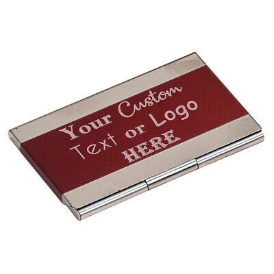 Custom Red Stripe Business Card Holder Carrier Case For Networking