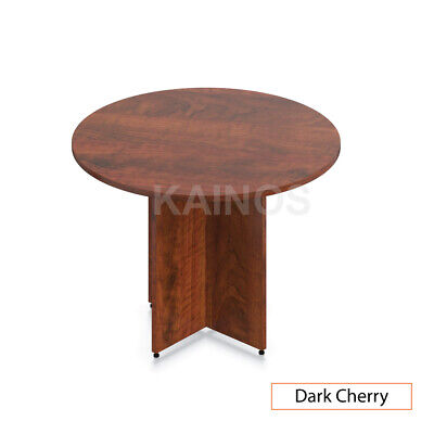 Gof 42 Round Table With Cross Base Dark Cherry 42w X 42d X 29.5h