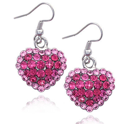 Pink Crystal Heart (Pink Crystal Pave Heart Dangle Earrings Valentine's Day Christmas Birthday)