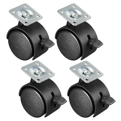 4 Pcs 2 Inch Swivel Casters Nylon Twin Wheel With Braketop Plate Mount