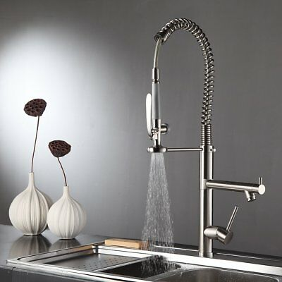 28'' Commercial Pre-Cleanse Kitchen Sink Faucet Pull Down Sprayer Brushed Nickel