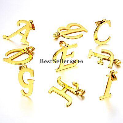 Gold Tone Script A-Z Initial Letter Pendant Stainless Steel Men Women Necklace