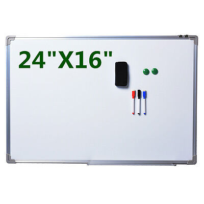 """NEW Single Side Magnetic Writing White Board 24""""x16"""" Office School Dry Erase"""