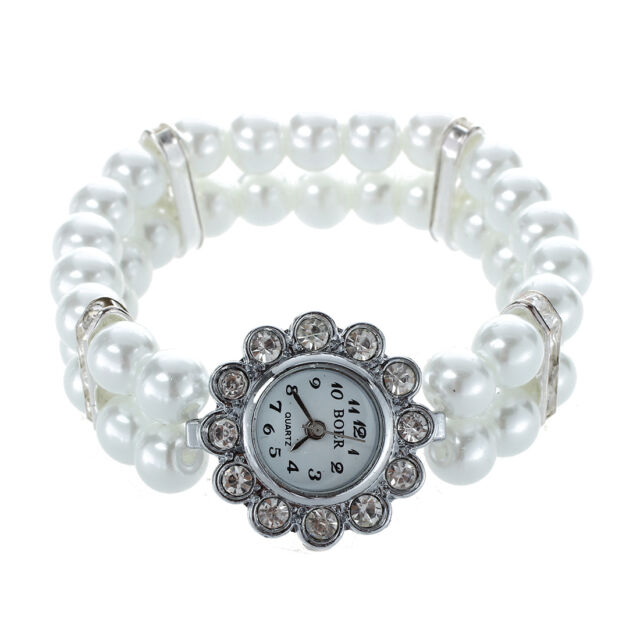 Metal Strap Rhinestone Bead Watch 25mm White For Women P6G1