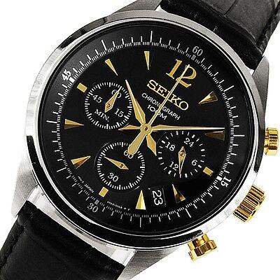 Latest Seiko Men's SSB071 Hyacinthine Leather Quartz Watch 100m