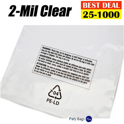 2-mil Clear Poly 9x12 Suffocation Warning Printed Plastic T-shirt Open Top Bags