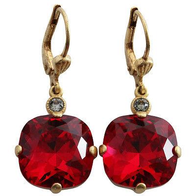 CATHERINE POPESCO La Vie Parisienne France Gold SIAM Sexy Red Swarovski Earrings for sale  USA