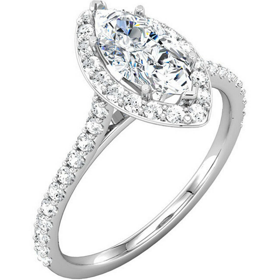 2.28 Ct. Marquise Cut Halo Pave Diamond Engagement Bridal Set GIA Natural 14k 2