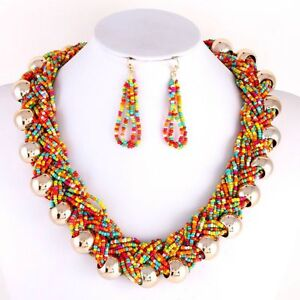multi colored braided seed bead gold bead statement