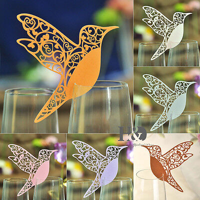 Humming Paperboard Bird Laser Cut Glass Place Name Card Wedding Invitation Favor (Place Card)