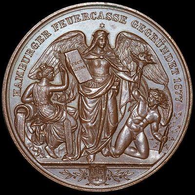 HAMBURG: Medaille 1877 von Lorenz. 200 JAHRE HAMBURGER FEUERCASSE / FEUERKASSE.