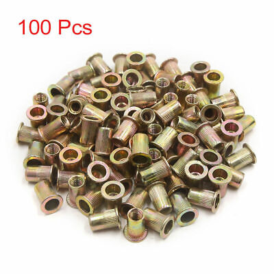 100 Pcs 14-20 Unc Carbon Steel Rivet Nut Flat Head Threaded Insert Nutsert Sae