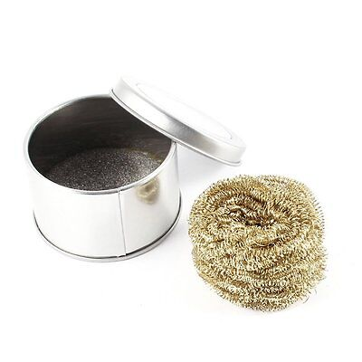 Soldering Iron Tip Cleaning Wire Scrubber Cleaner Ball w Metal Case LW