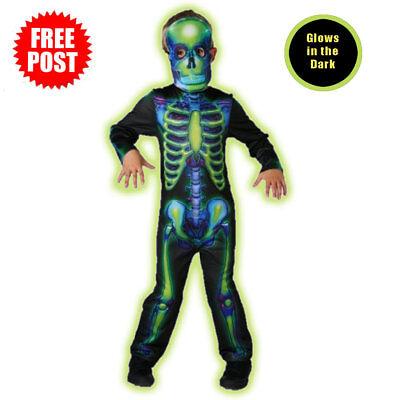 Neon Skeleton Boys Halloween Fancy Dress Glow in the Dark Childrens Kids - Glow In The Dark Skeleton Costume Kids