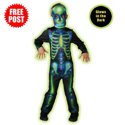 Neon Skeleton Boys Halloween Fancy Dress Glow in the Dark Childrens Kids Costume
