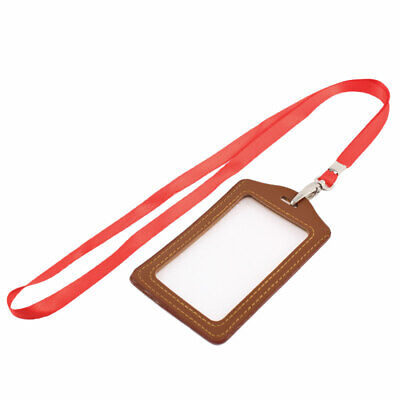 Lanyard Faux Leather Vertical Work  Name Id Card Badge Holder Brown Red