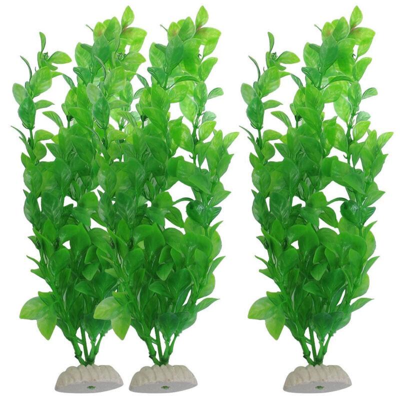 3pcs Artificial Aquarium Fish Tank Green Plastic Plant Decoration 10-Inch Tall