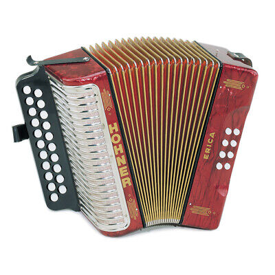 Hohner 3000AR Erica Two-Row Accordion in AD, Red