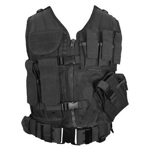 Black-TACTICAL-VEST-Combat-Assault-Airsoft-Army-Molle-Attachment-Rig-Top