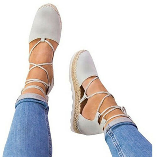 NEW Women/'s Shoes Flat Lace Up Espadrilles Flats Cross Over Sandals Beach Casual