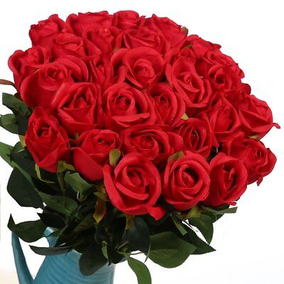 Veryhome Artificial Flowers Silk Roses Fake Bridal Wedding Bouquet for - Silk Red Roses
