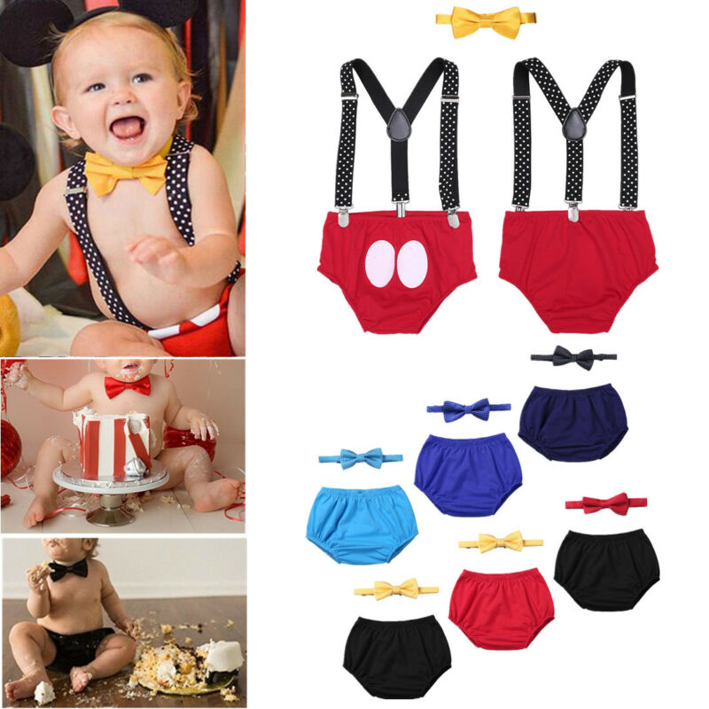 Baby Boy Cowboy Cake Smash Outfit First Birthday Bloomers Bowtie Adjustable Y Back Suspenders Strap Clip Costume Diaper Cover Clothes Set