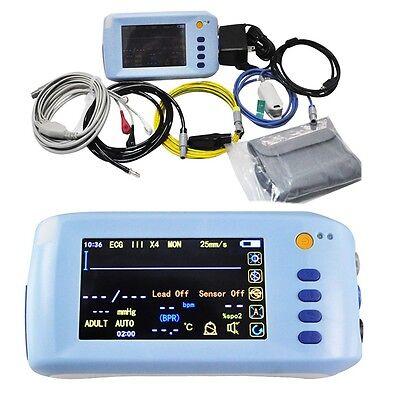 Icu Touch Vital Signs Patient Monitor Handheld 5-parameter Ecg Nibp Spo2 Pr Temp