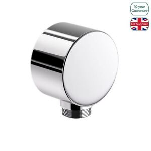 BATHROOM ROUND SHOWER HOSE WALL OUTLET ELBOW MODERN CHROME CONNECTOR 1/2