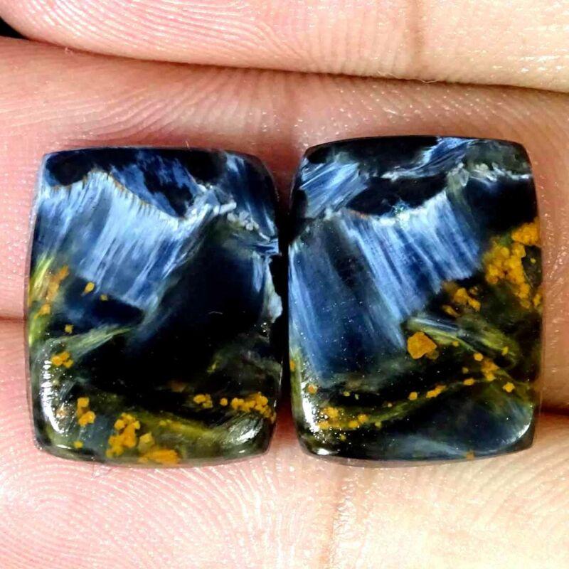 18.60Cts Natural Pietersite Cushion Pair Cabochon Loose Gemstone