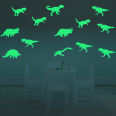 9pcs Poster Luminous Stickers Dinosaur Wall sticker Fluorescent Room Home Decor - Dinosaur Stickers