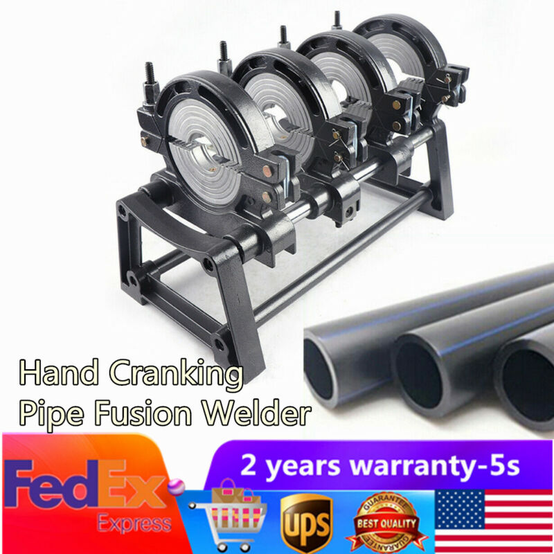 Manual 4 Clamps Pipe Fusion Welder PE HDPE Plastic Welding Machine 110V 63-160mm