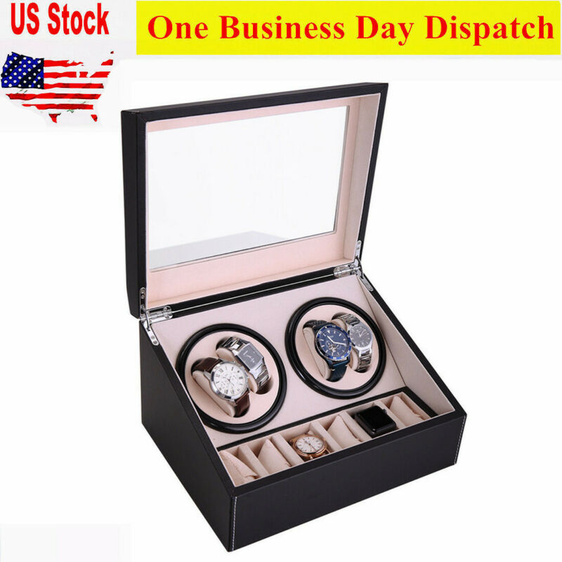 4+6 Automatic Rotation Watch Winder Leather Wood Storage Cas