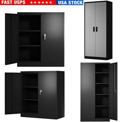 Metal Steel Garage File Storage Cabinet Wadjustable Shelves Lockable Doors Safe