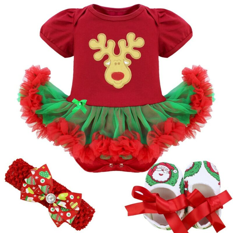 US Girls Baby Christmas Outfit Kids Xmas Party Romper Tutu Dress Clothes Costume
