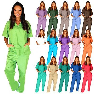 Medical Scrub Unisex Men Women Natural Uniforms Hospital Nursing set Top & Pants