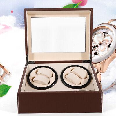 2 Motors Automatic Watch Winder 4+6 Storage Display Case Box PU Leather Brown