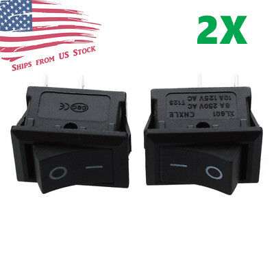 2pcs Mini Rocker Switch 2 Pin On-off Spst 125vac6a 250vac3a Black 117s Us