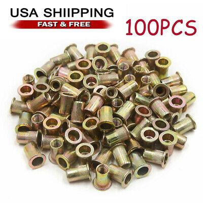 100pcs Rivet Nut Flat Head 14-20unc Rivnut Insert Nutsert Plated Carbon Steel