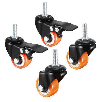 1.5 Inch Swivel Caster Wheels Pu Threaded Stem 4 Pcs2 With Brake 2 No Brake